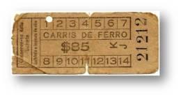 Carris De Ferro - $85 - Tramway Ticket - Serie KJ - RADAR 21212 CAPICUA - Lisboa Portugal - Tranvías