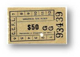 C. C. F. L. - Companhia Carris De Ferro De Lisboa - 0$50 - Tramway Ticket - Serie GG - RADAR 93439 CAPICUA - Portugal - Tranvías