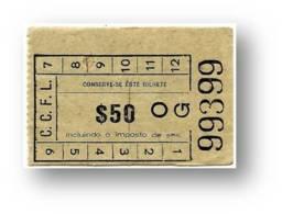 C. C. F. L. - Companhia Carris De Ferro De Lisboa - 0$50 - Tramway Ticket - Serie OG - RADAR 99399 CAPICUA - Portugal - Tranvías