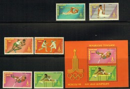 1980  Jeux Olympiquess De Moscou : Natation, Gymnastique, Course, Escrime, Sauts Série Complète Et  Bloc-feuillet  ** - Togo (1960-...)