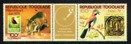 1978  PhilexafriqueII Et Essen'78 Animaux Et Timbres Sur Timbres Triptyque: 2 Timbres, 1 Vignette  ** - Togo (1960-...)