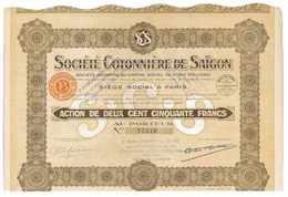 SOCIETE COTONNIERE DE SAIGON 1927 ACTION DE 250 FRANCS LIQUIDATION 1956