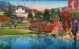 CPA NICE - JARDIN ALBERT Ier - LA GROTTE ET LE CASINO MUNICIPAL - Parcs Et Jardins
