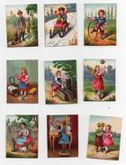 Petite CHROMO Enfants Fille Garçon Jeu Jouets Cerceau Poupée Balle Toilette Chasseur Neige Traineau (9 Chromos) - Trade Cards