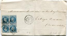 INDRE De LE BLANC GC 490 Sur Bloc De 4 Du N°29 Sur LSC Du 05/04/1869 ( 2 Scans) - 1849-1876: Klassik