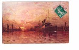 62 Boulogne Sur Mer SS Onward Entrant A Boulogne Illustration Illustrateur Ricard Cordingley Bateau Paquebot Cpa - Boulogne Sur Mer