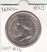 BRAZIL 2000 REIS 1869 PEDRO II. SILVER COIN - Brésil