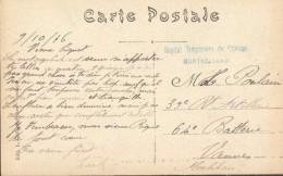 """25 - Montbéliard - Cachet """"Hôpital Temporaire Du Chateau"""" (en Bleu 40 X 8 Mm ) - Marcophilie (Lettres)"""