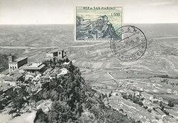 D27727 CARTE MAXIMUM CARD 1958 SAN MARINO - GENERAL VIEW PANORAMA - 500 LIRE CP ORIGINAL - Architecture