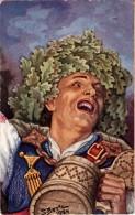 Latvia.LETTLAND.National Motif.Drawing By BERTZ.Folk Costume.Midsummer Greetings. - Latvia