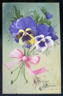 Cpa  Celluloid Gouachée Violettes -- Superbe JIP101 - New Year