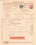 France Timbre Sur Facture Du 31 Mars 1947 De Nice Pour Issoudun Laboratoires Des Ampho-vaccins Ronchese - France