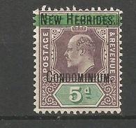 NUEVAS HEBRIDES YVERT NUM. 9 * NUEVO CON FIJASELLOS - Unused Stamps