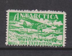 Australian Antarctic Territory 1954 Expedition Label Green Plane Over Camp Single MNH - Australian Antarctic Territory (AAT)