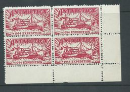 Australian Antarctic Territory 1954 Expedition Label Red Ship Kista Dan Block 4 MNH - Australian Antarctic Territory (AAT)