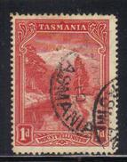 T1919 - TASMANIA 1 Penny Official :  Wmk TAS  Used . Punctured T - 1853-1912 Tasmania