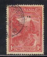 T1921 - TASMANIA 1 Penny Official :  Wmk TAS  Used . Punctured T - 1853-1912 Tasmania