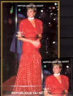 Porträt Diana Rote Abendrobe 1997 Niger A1430+Block G 110 ** 14€ Lady Di Blocs M/s Flower Princess Of Wales Sheets Bf UK