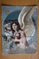 Christmas -  (ANGEL ) Old Vintage Postcard 1910s - Rare - Angels