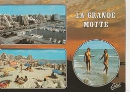 CPM La Grande Motte Multivues, Femmes Seins Nus Courant Sur Le Sable - France