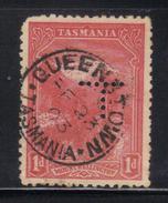T1939 - TASMANIA 1 Penny Wmk V On Crown Sideways Used . Punctured T - Gebraucht