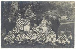 Cpa Carte-photo équipe De Football ( Maillot à Damiers ) (éditeur Etienne, Tarare )     ((S.1326)) - Football
