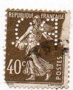 France - N°193 I - 40c Semeuse Perforé P D - (PD) Perfin - Perfins