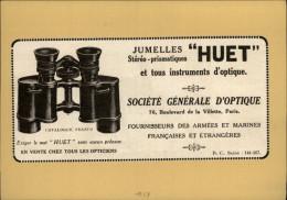JUMELLES - Publicité Issue D´une Revue De 1927 Et Collée Sur Carton - Lunettes - Optique - Publicités