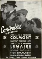 JUMELLES - Publicité Issue D´une Revue De 1933 Et Collée Sur Carton - Lunettes - Optique - - Publicités