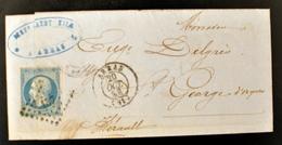 Lettre - Napoleon N°14 - ARRAS - PC 137 (B42-L1) - 1849-1876: Période Classique