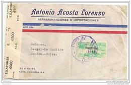 TH - 8101 - Lettre Envoyée De Caracas En Suisse - Timbre Très Rare Sur Lettre - Censure - Venezuela