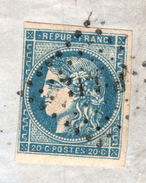 Y & T N°45b SUR LETTRE DE: LILLE POUR AMIENS, GARE DE LILLE DU 5 MARS 1871, Losange P LIL: PARIS LILLE - 1849-1876: Classic Period