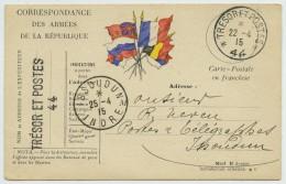 Carte FM 6 Drapeaux 1915 Pour Postes Et Télégraphes Issoudun. Divers Cachets Trésor Et Postes 44. Payeur. - Guerre De 1914-18