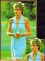Porträt Diana Im Kleid 1997 Niger A1424+ Block A 110 ** 14€ Lady Di Hoja Blocs M/s Flower Princess Of Wales Sheets Bf UK