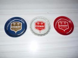 3 SOUS-VERRES DE COULEURS DIFFERENTES  EN TÔLE -  CHIMAY PERES TRAPPISTES - Diamètres 10 Cm - - Beer Mats