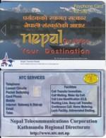 NEPAL - Lake, Your Destination, Nepal Telecom Telecard, First Issue R$ 500, Tirage 10000, Sample(no Chip, No CN) - Nepal