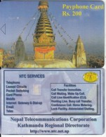 NEPAL -  Temple, Nepal Telecom Telecard, First Issue RS 200, Sample(no Chip, No CN) - Nepal