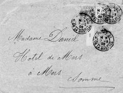 N°111 X3   5c Type BLANC  Paire Avec Millesime 1 + Unite Bande Interp;1 Cadd PARIS 7/8/1902 Pour MERS - 1877-1920: Semi Modern Period
