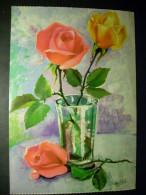 92 DIBUJO PICTURE FLORES FLOWERS FLEURS ROSAS PINKS ROSES BUCAROS POSTCARD POSTAL AÑOS 60/70 - TENGO MAS POSTALES - Flores