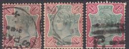 1r X 3 Used, One Rupee, British India 1892 Shade Varities - 1882-1901 Impero