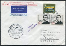 1966 Germany Lufthansa First Flight Cover. Frankfurt -  Guayaquil Ecuador - [7] Federal Republic