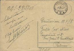 FRANCHIGIA POSTA SPECIALE 4 1937 CORPO TRUPPE VOLONTARI SPAGNA X PALERMO - 1900-44 Vittorio Emanuele III