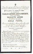 Doodsprentje ANTWERPEN 1820 - BERCHEM 1874 Charles-ntoine-Joseph HAVENITH époux De Dame Adèle FUCHS - Décès