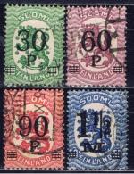 SF+ Finnland 1921 Mi 107-10 Aufdruck