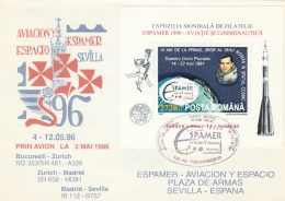 #BV6204 DUMITRU PRUNARIU,ASTROLOGY,SEVILLA,BUCURESTI,SPECIAL COVER WITH STAMPS, OBLITERATION CONCORDANTE,1996,ROMANIA. - Astrology