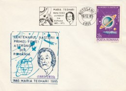 #BV6206 MARIA TEOHARI,ASTROLOGY,SPECIAL COVER WITH STAMP, OLBITERATION CONCORDANTE, 1985,ROMANIA. - Astrology