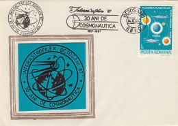 #BV6208 INTERASTROFILEX,COSMONAUTICS, SPECIAL COVER WITH STAMP, OLBITERATION CONCORDANTE, 1987,ROMANIA. - Astrology