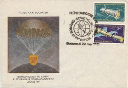 #BV6209 SOIUZ40,LANDING,SATELLITE, SPECIAL COVER WITH STAMP, OLBITERATION CONCORDANTE, 1981,ROMANIA. - Astrology
