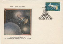 #BV6210 SOIUZ40,LANDING,SPACESHIP, SPECIAL COVER WITH STAMP, OLBITERATION CONCORDANTE, 1981,ROMANIA. - Astrology