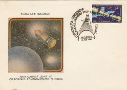 #BV6211 SOIUZ40,LANDING,SPACESHIP, SPECIAL COVER WITH STAMP, OLBITERATION CONCORDANTE, 1981,ROMANIA. - Astrology